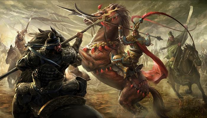 劉備・関羽・張飛が呂布と戦う