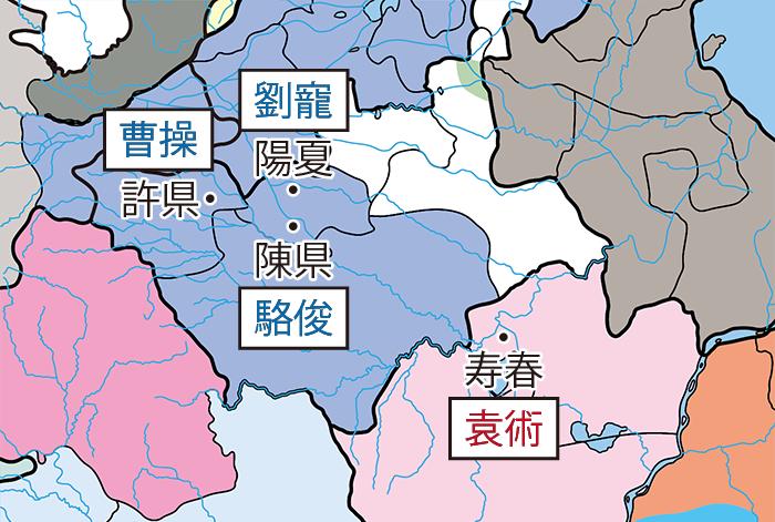 袁術の陳国侵攻関連地図