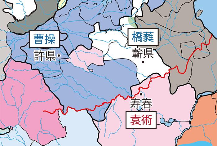 袁術の沛国侵攻関連地図