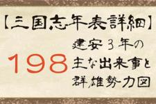 【三国志年表詳細】198年の主な出来事と群雄勢力図