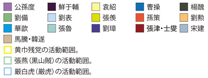 劉備の徐州入り後の勢力図(凡例)