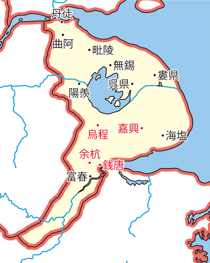 厳白虎の追撃戦関連地図